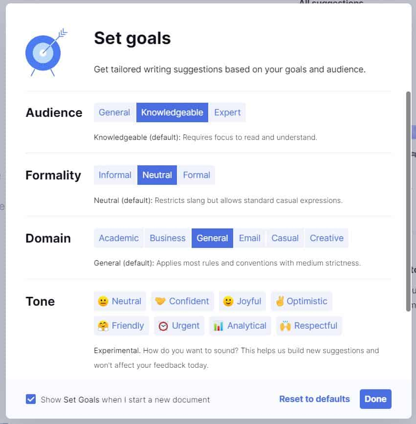 A screenshot of where you set your writing goals in Grammarly's software