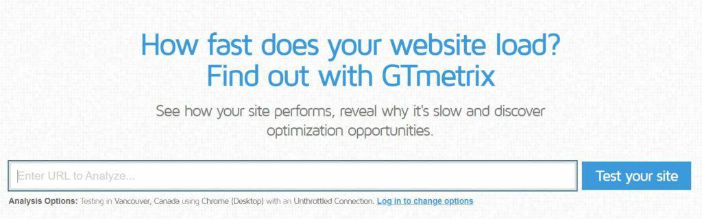 Screenshot of GTMetrix.