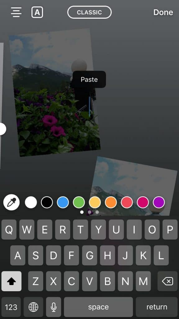 Screenshot of using the text on Instagram Stories