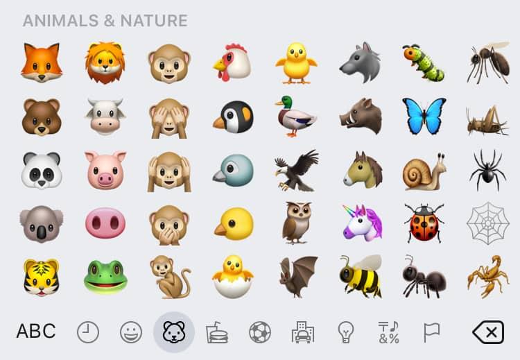 An assortment of animal emoji