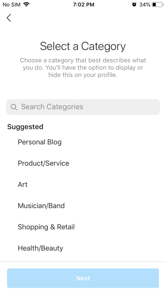 Categories for Instagram business accounts