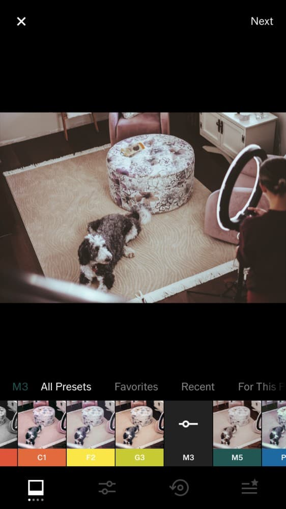 Screenshot of the photo editing app VSCO