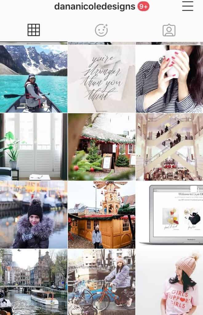 Screenshot of an Instagram feed grid