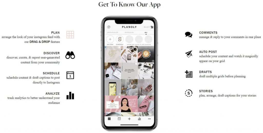 Screenshot taken from Planoly website. A phone with an Instagram feed on the screen with text on the right and left.