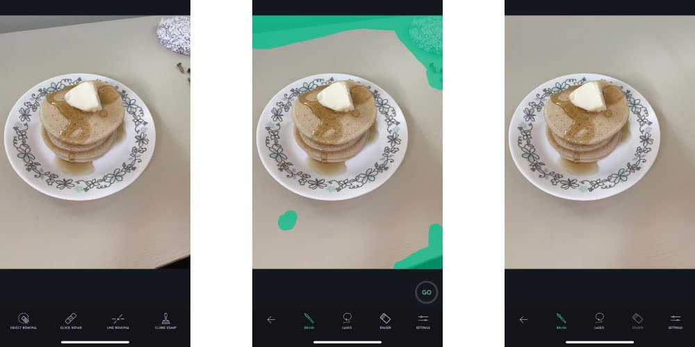 Three photos that show how you can use an app to remove unwanted things from your images. In this case, the image is of pancakes on a plate and we are removing some of the items on the table beside it