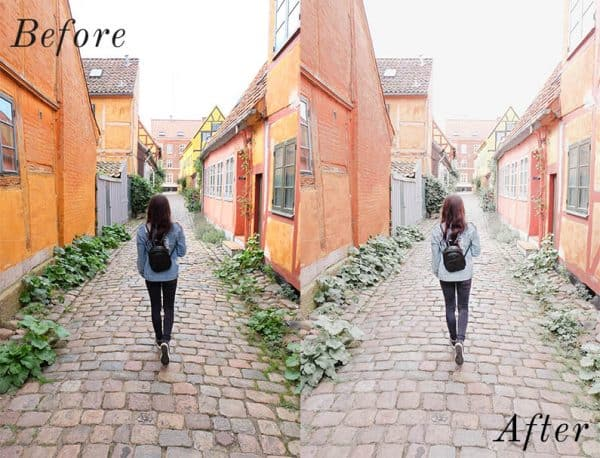 Before and after photo of girl and buildings using Lightroom mobile presets