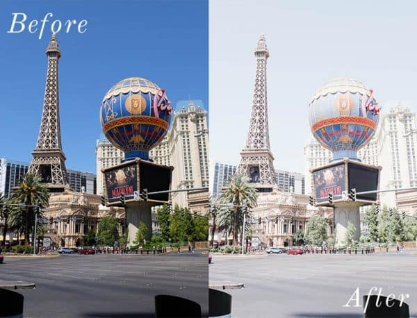 Before and after photo of Las Vegas Eiffel Tower using Lightroom mobile presets