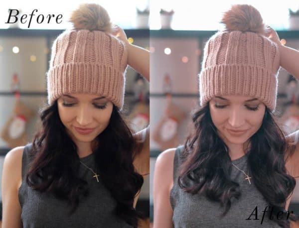 Before and after image of girl wearing a pink toque