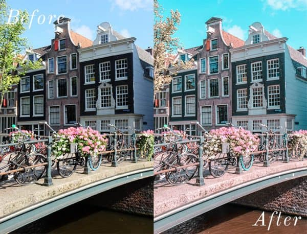 Before and after image of pretty buildings with flowers and bridge