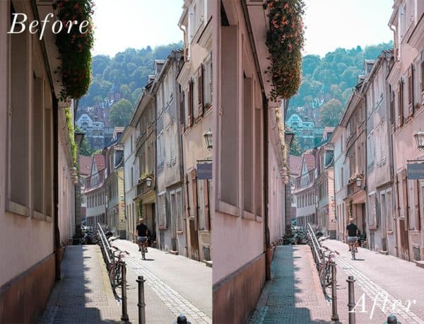 Before and after image of narrow streetway