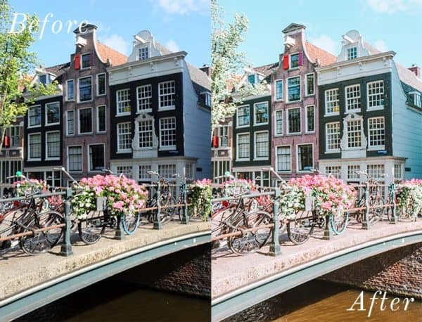 Before and after image of buildings with a bridge and flowers