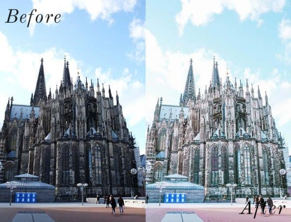 Before and after image of big German catherdral
