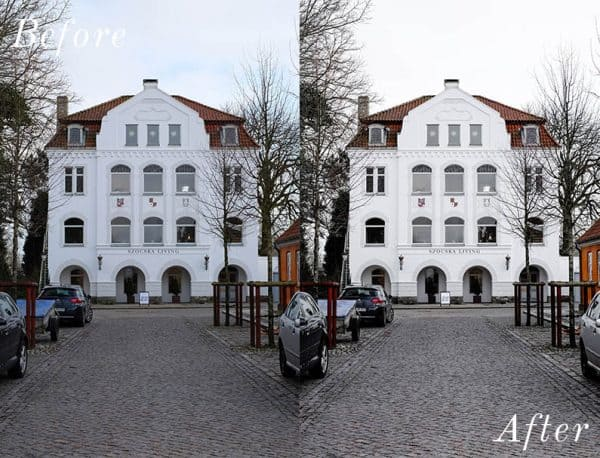 before and after image of a white building