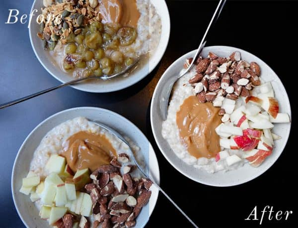 before and after image of three bowls of oatmeal