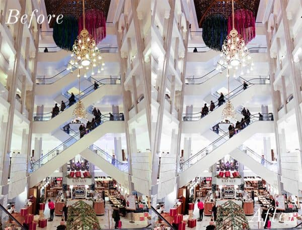 Before and after photo of a mall's escalators