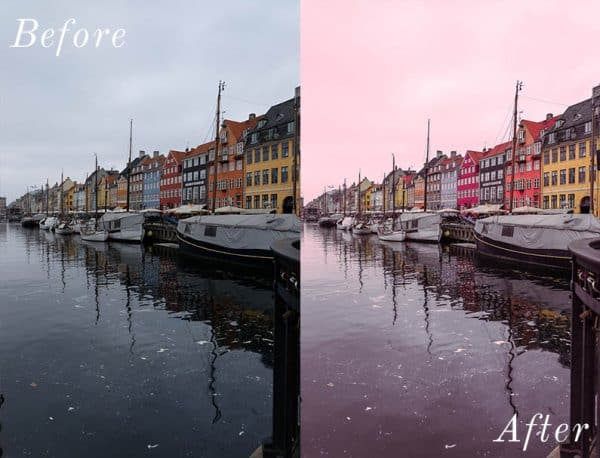 Before and After showing the effect that a preset has on an image. Image is of a boat canal