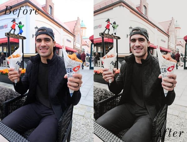 Before and after image of man holding up fish and chips smiling