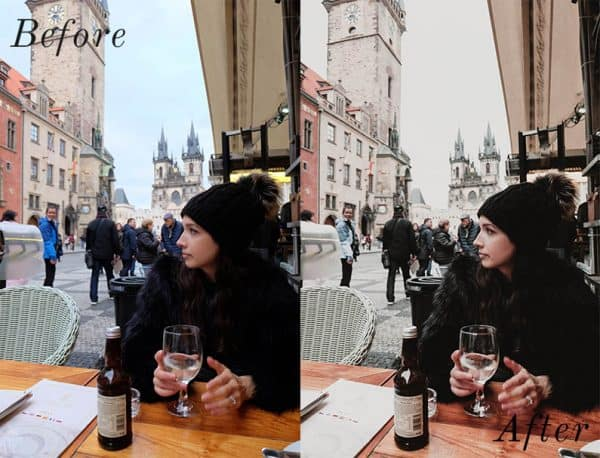 Before and after image of girl wearing a toque drinking outside on a patio
