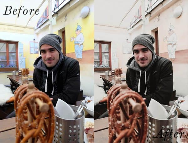 Before and after image of man sitting beside pretzals at a restaurant