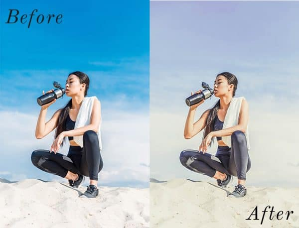 A before and after of two images using photo presets