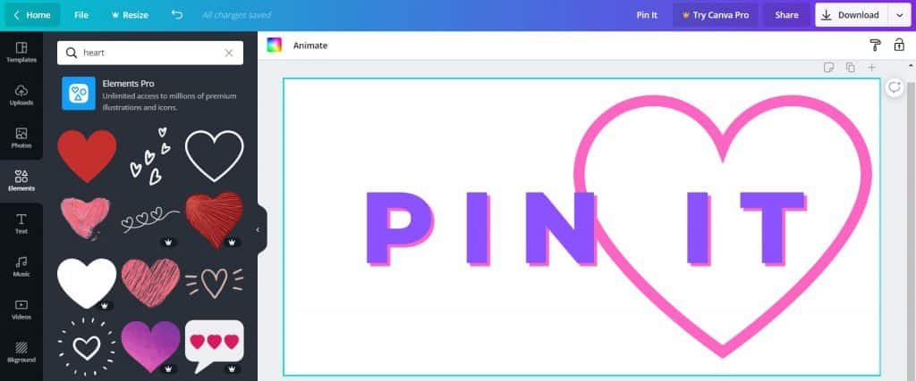 """Text that says """"Pin It"""" with a pink heart"""