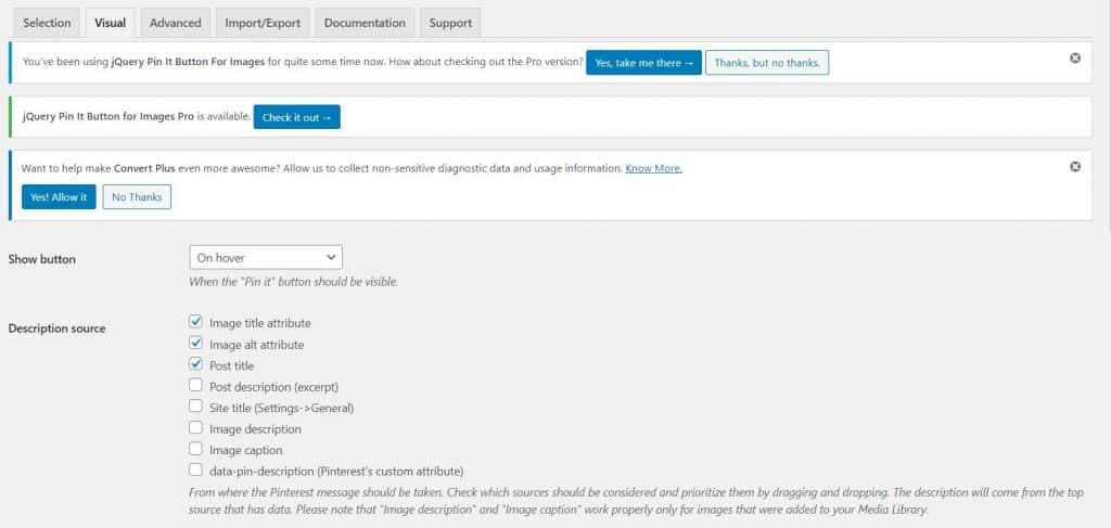 Screenshot of the jQuery Pin It button interface