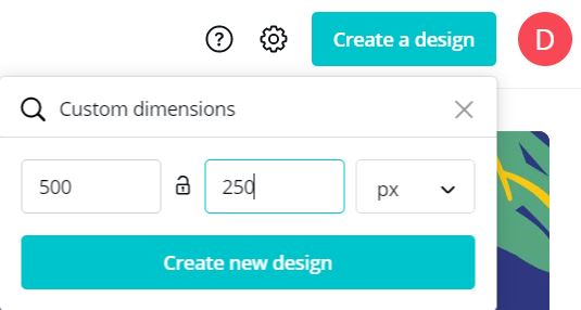Screenshot of Canva's custom dimension