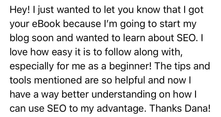 email testimonial screenshot