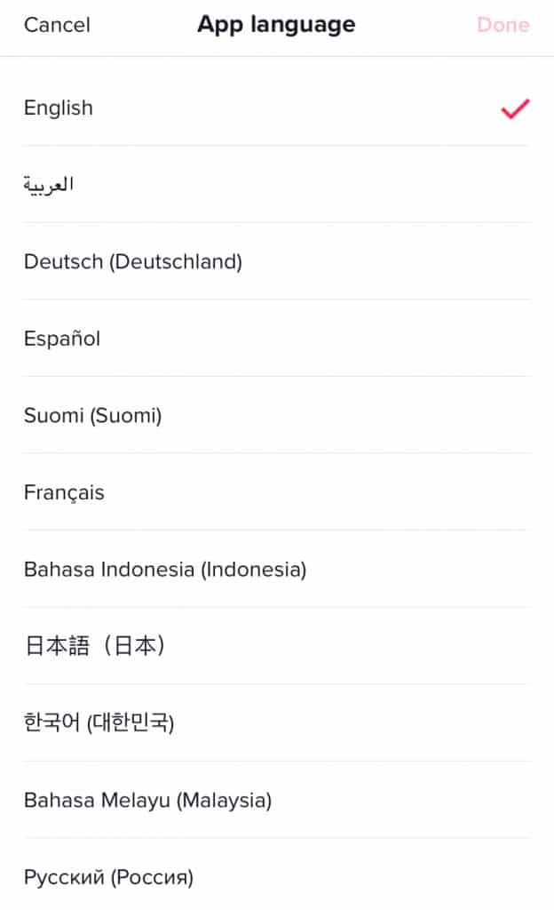 Screenshot of TikTok language selection