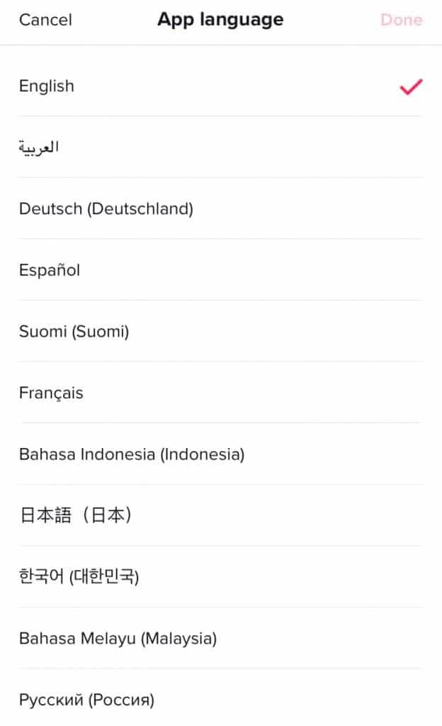 Screenshot of TikTok language selection