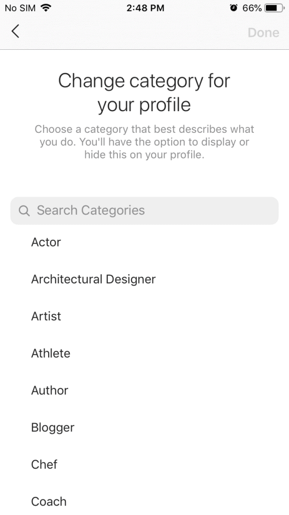 A screenshot of a list of categories to choose from for your Instagram business account