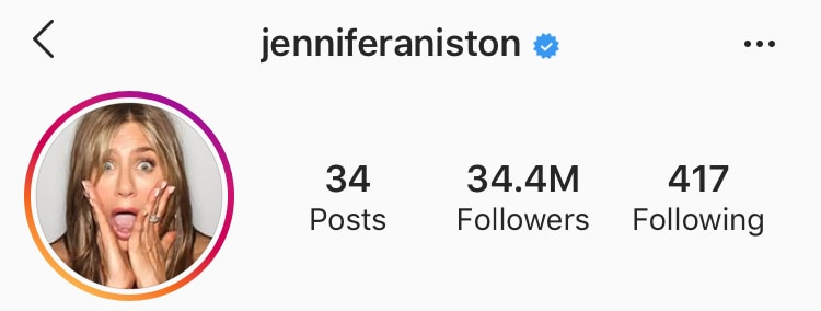 A screenshot of Jennifer Aniston's Instagram account username