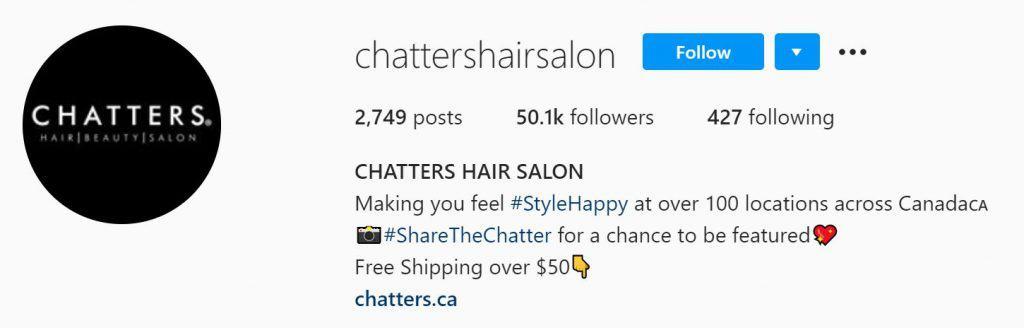 Screenshot of an Instagram bio