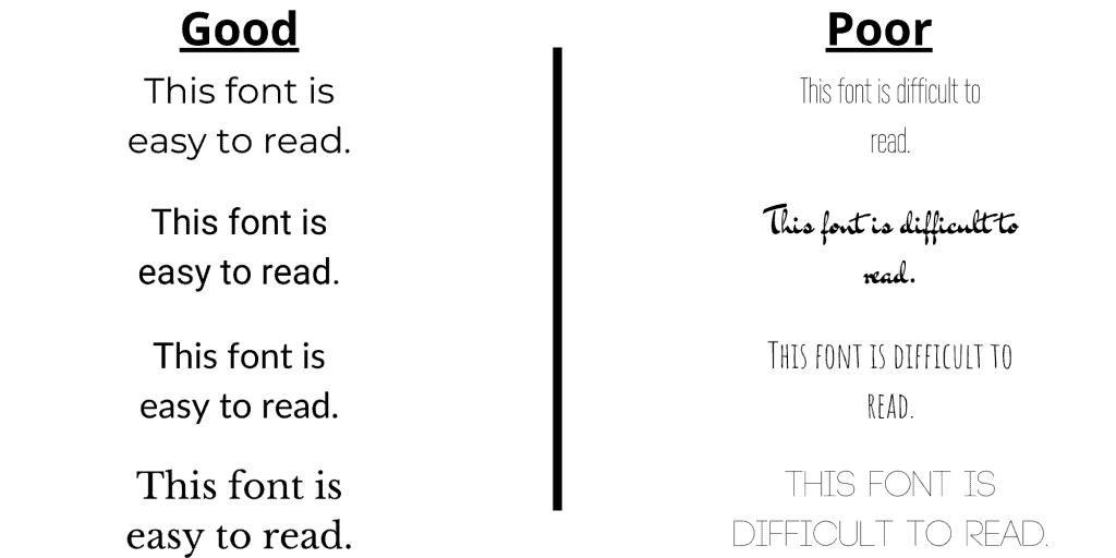 """A photo of text on the left that reads: this font is easy to read. Written in legible font. On the right it says """"this font is difficult to read"""" written in illegible font."""
