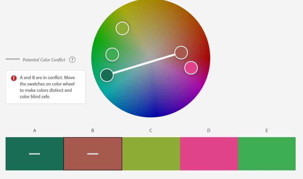 5 different colors along with a color wheel