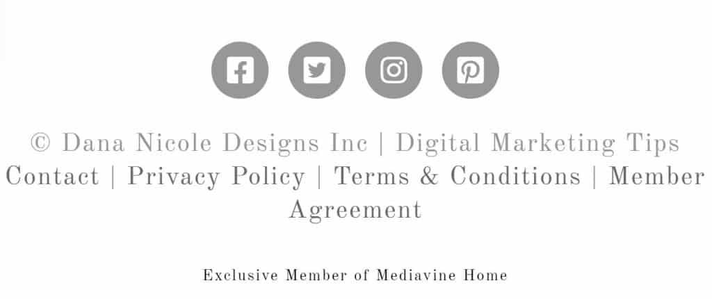 Screenshot of the footer of a website that includes social media icons and links to policy agreements.